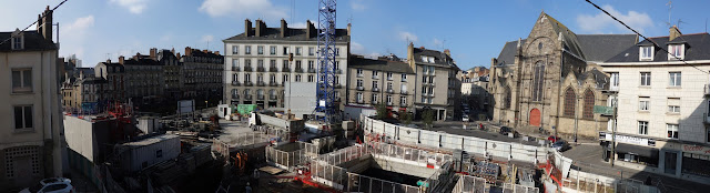 Le chantier en cours Place Saint-Germain, le 08 Février 2017... Photo Erwan Corre