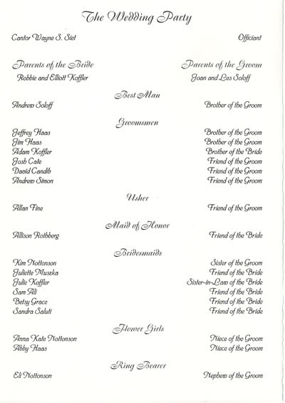 Wedding Collection Nowadays: wedding programs examples
