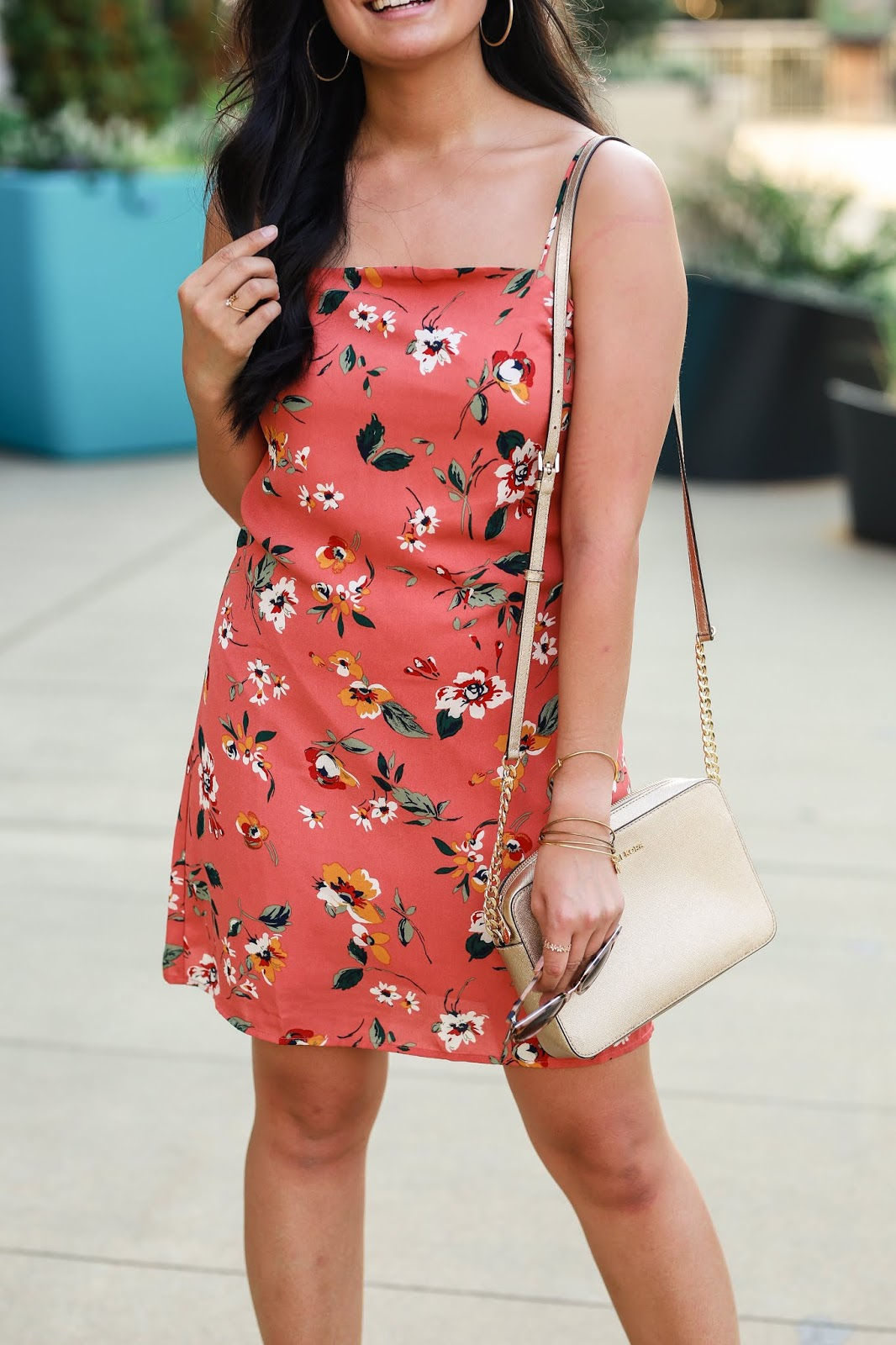 How to transition your summer dress to fall   Orange floral dress   Affordable outfit idea