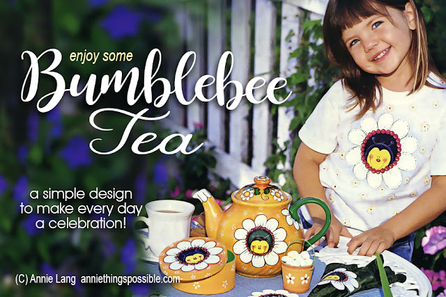 You can download the FREE lineart patterns and full page color guides to make Annie Lang's BumbleBee Tea craft projects because Annie Things Possible!