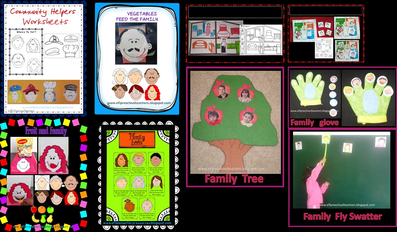 Theme worksheets esl efl preschool teachers family theme worksheets