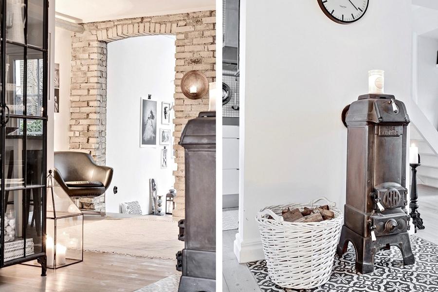 Skandynawski, biały domek z rustykalnymi elementami, wystrój wnętrz, wnętrza, urządzanie mieszkania, dom, home decor, dekoracje, aranżacje, styl skandynawski, scandinavian style, styl rustykalny, rustic, cegła, drewno, biel, white, koza, piec, piecyk
