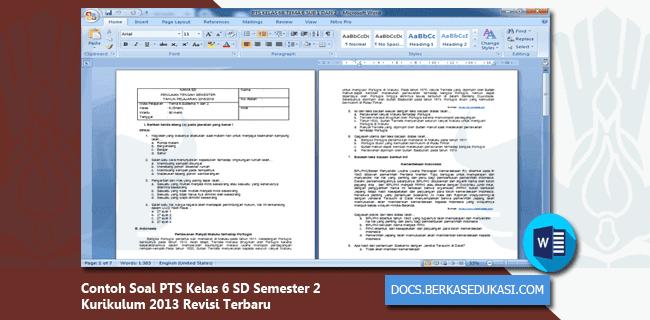 Contoh Soal PTS Kelas 6 SD Semester 2 Kurikulum 2013 Revisi 2019-2020