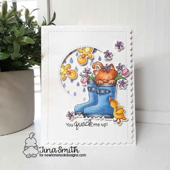 You Quack me Up | Kitty in Rain Boots Card by Tina Smith | Newton's Rain Boots Stamp Set, Frames & Flags Die Set and Raindrops Stencil by Newton's Nook Designs #newtonsnook #handmade