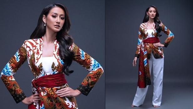 Busana batik Banyuwangi bermotif 'Blue Fire Ijen & Gajah Oling' karya desainer Isyam Syamsi dalam ajang Miss Universe 2020