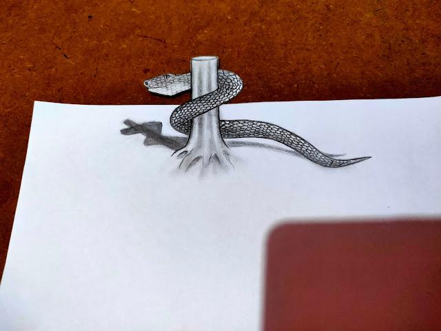 Contoh gambar ular 3D