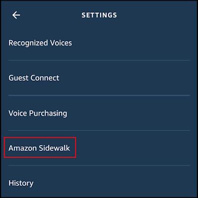 """حدد """"Amazon Sidewalk"""""""