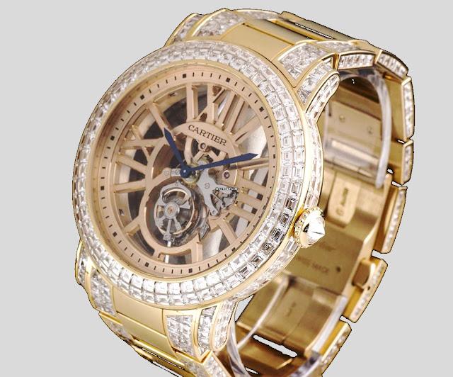 """أفضل ساعة كارتير الماس """"Cartier Unique Diamond Flying Tourbillon Rotonde"""""""