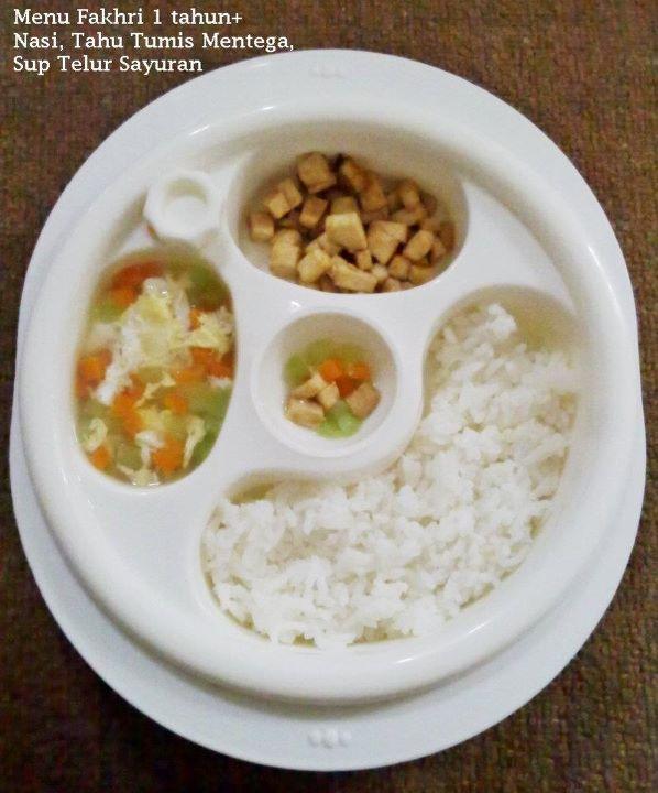 Nugget Ayam Tahu: Nasi, Tahu Tumis Mentega & Sup Telur Sayuran