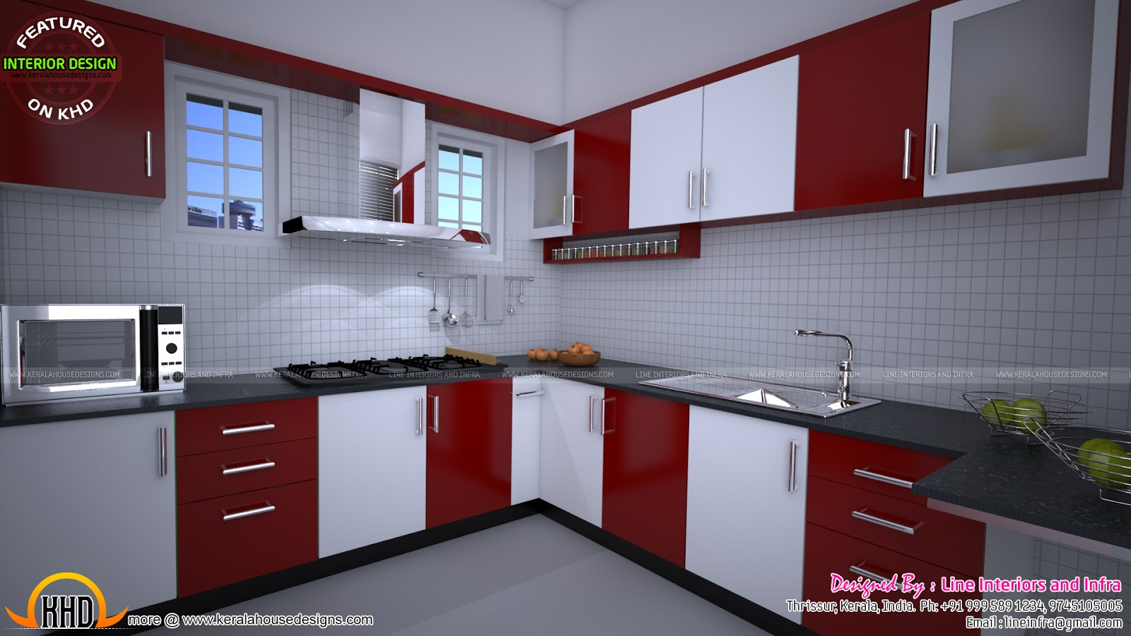 Modular kitchen bedroom dining interiors in kerala for Home design kitchen decor
