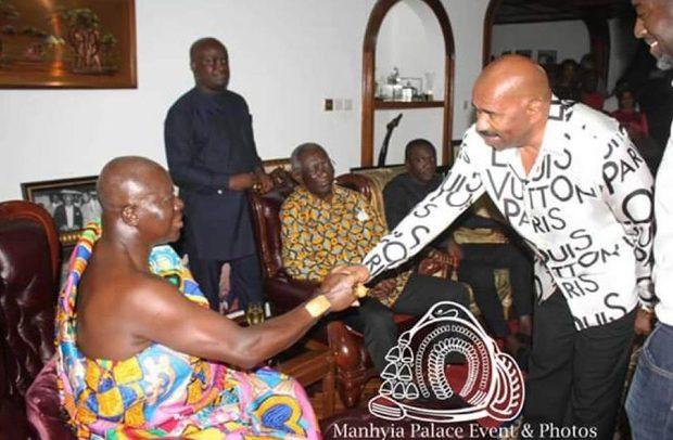 Steve Harvey Meets Otumfuo & Ex-President Kufuor