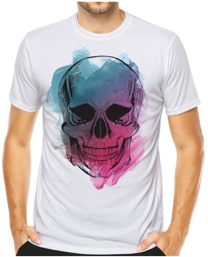 Camiseta Camisa Caveira Brush Moda Vintage Estilo Design - Shopee