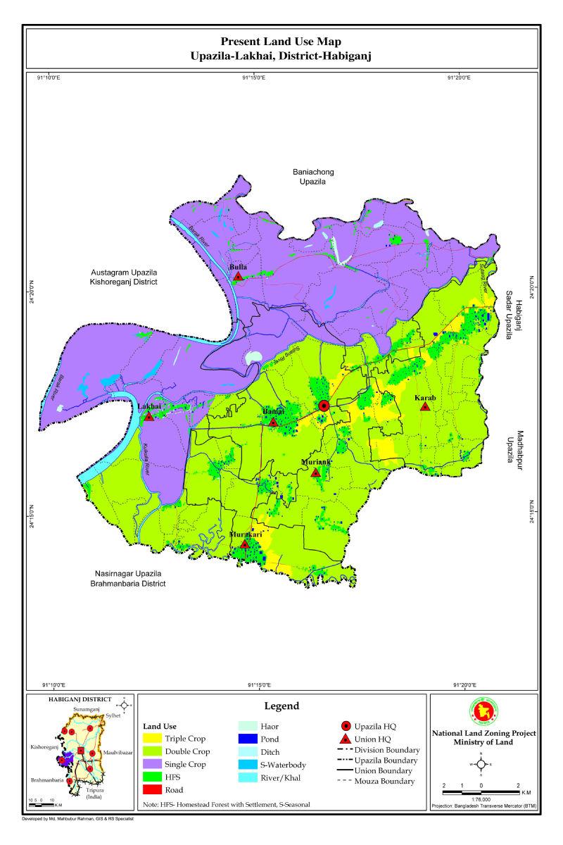 Lakhai Upazila Mouza Map Habiganj District Bangladesh