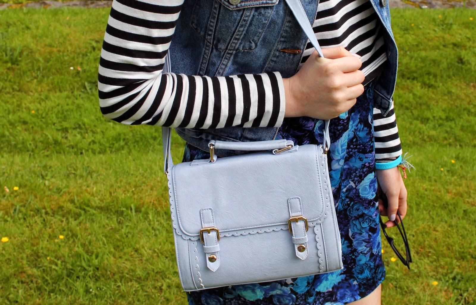 asos blue lilac pastel scalloped edge satchel bag