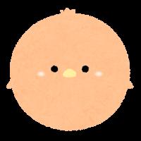 パステルカラーの鳥のイラスト(オレンジ)