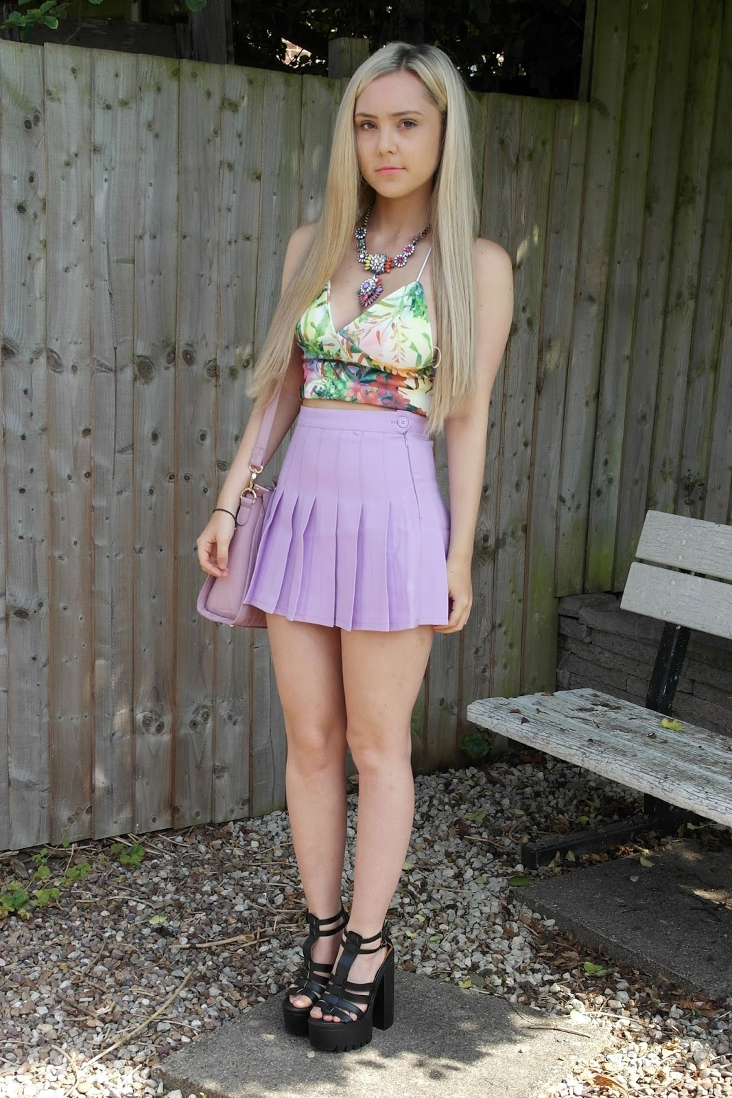 Tennis skirt and heels