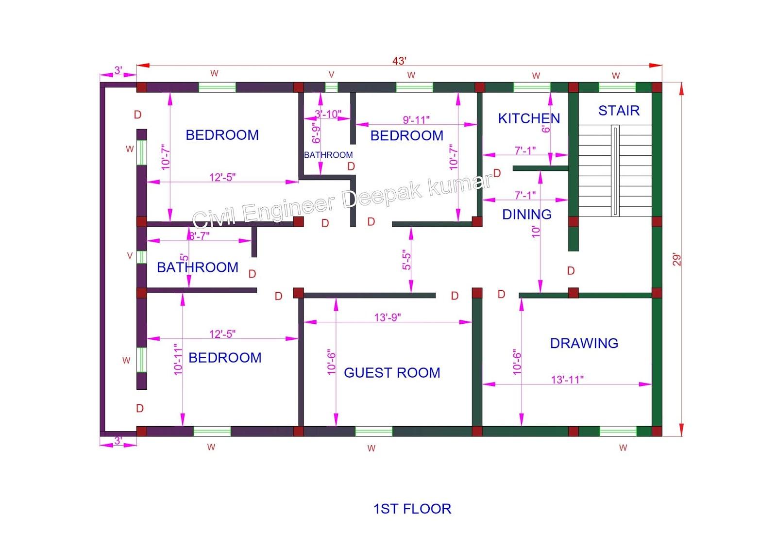 Civil Engineer Deepak Kumar: 43 X 29 feet House Plan ...