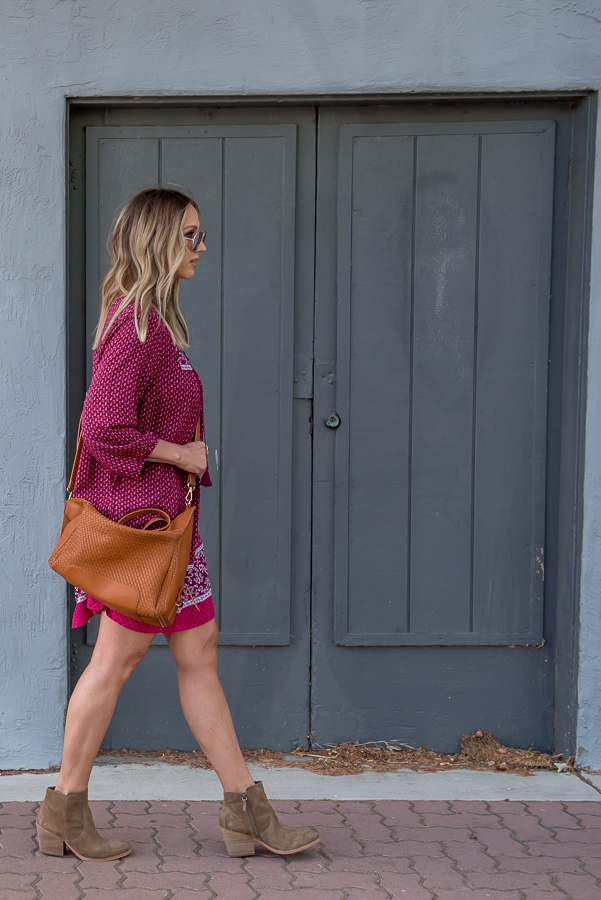 berry dress with neutral booties for fall