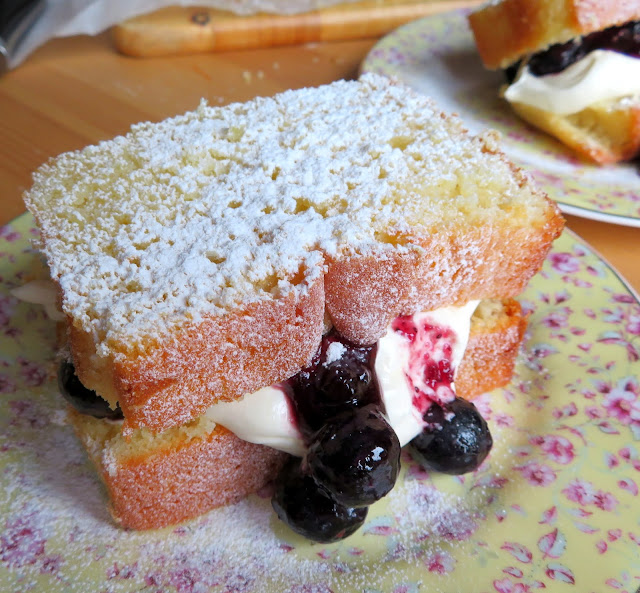 Lemon Sandwiches with Blueberries & Cream