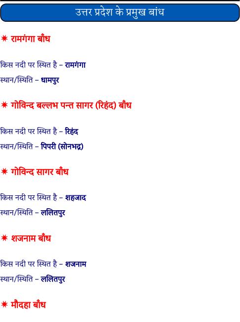 उत्तर प्रदेश के प्रमुख बांध पीडीऍफ़ पुस्तक | Uttar Pradesh Ke Pramukh Bandh PDF In Hindi