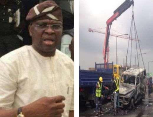 Fayose Escapes Death; His G-Wagon Catches Fire In Lagos