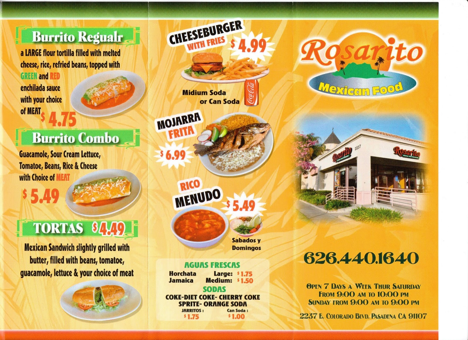 Rosarito Mexican Food Pasadena Menu 2237 E Colorado Blvd Ca 91107
