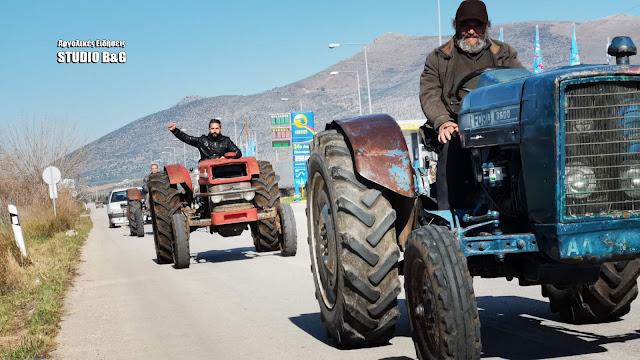 Πορεία αγροτών της Αργολίδας με τα τρακτέρ στο Άργος (βίντεο)