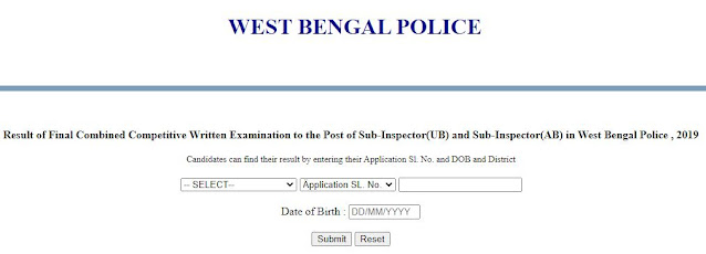 wbp police sub inspector 2019 result