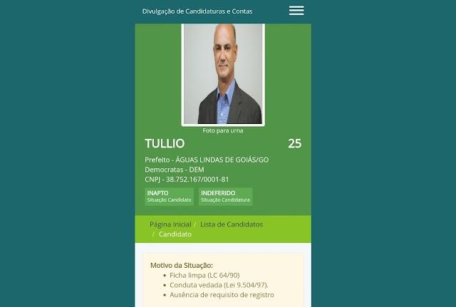 Túllio tem candidatura indeferida na corrida à Prefeitura de Águas Lindas