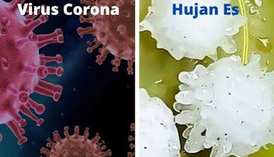 Hujan es bentuknya mirip virus corona