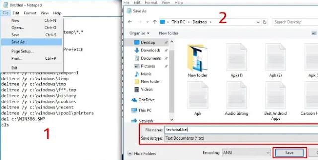 التنظيف باستخدام ملف سكريبت Notepad