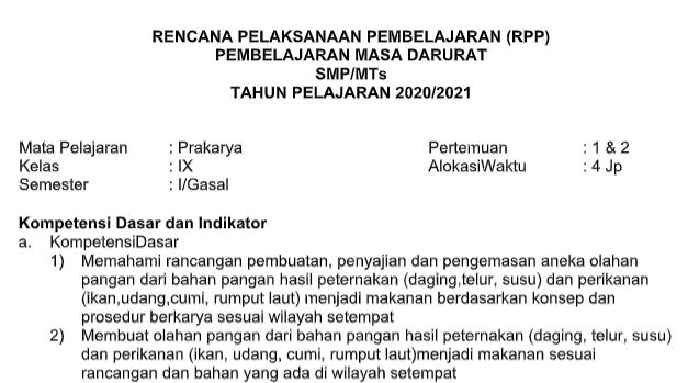 Rpp Daring Prakarya Kelas 9 Semester Ganjil Kurikulum 2013 Tahun Pelajaran 2020 2021 Didno76 Com