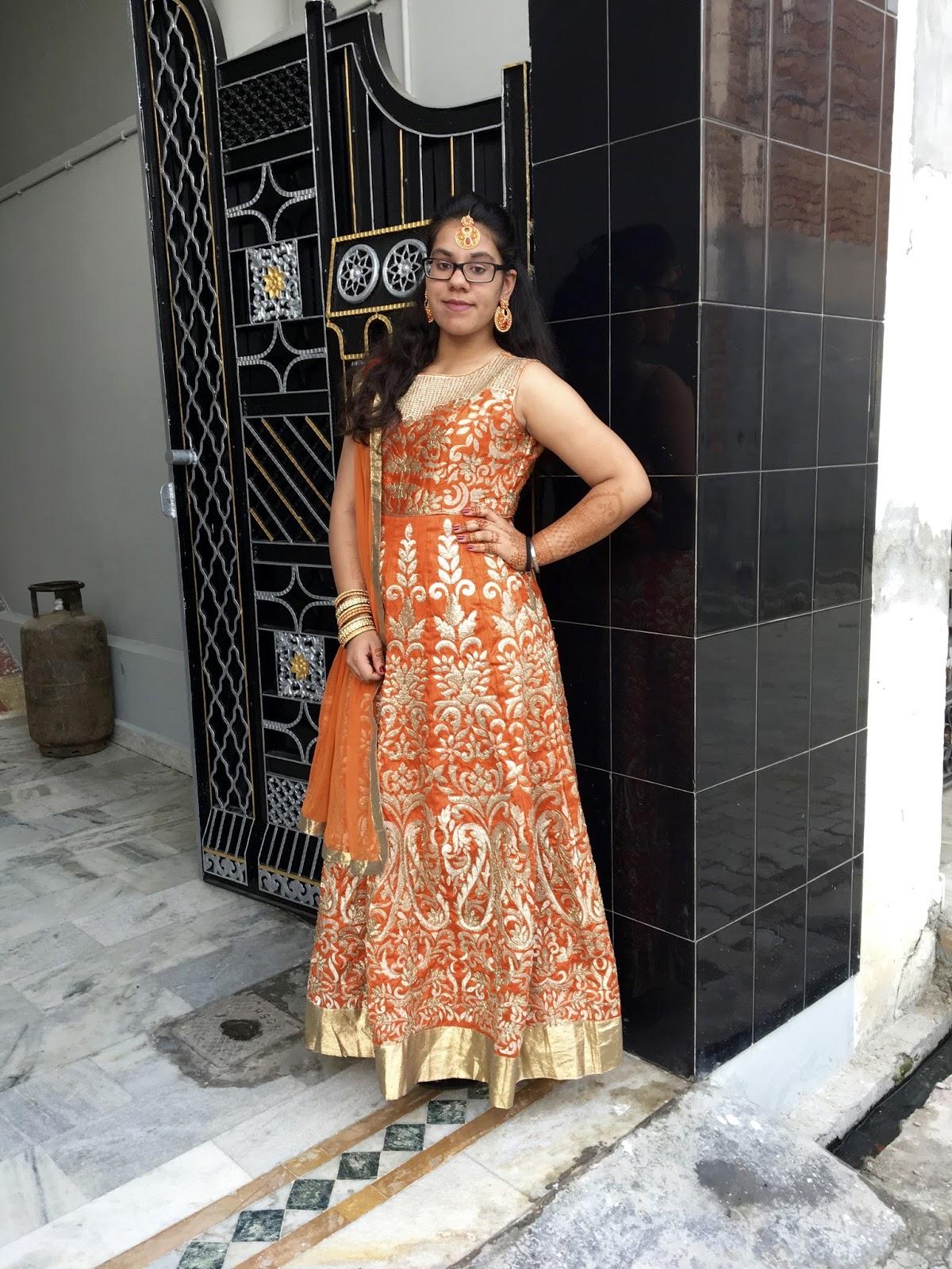 Orange & Gold Punjabi Frock Suit