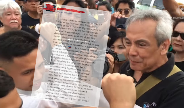 Australian to Jim Paredes: We don't want you to come back here in Australia
