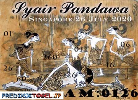 Syair Pandawa SGP Minggu 26 Juli 2020