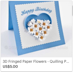 SVG Quilling Fringed Flowers Card