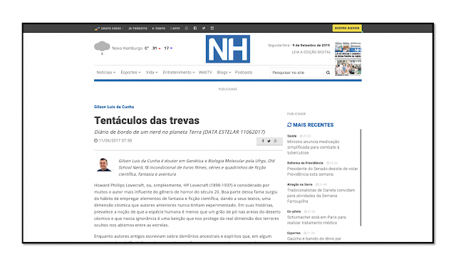 Print Screen da Página do Jornal NH