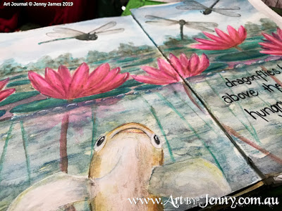 Haiku Watercolour Painting by Jenny James - Dragonflies Hover Above the Waterlilies Hungry are the Fish