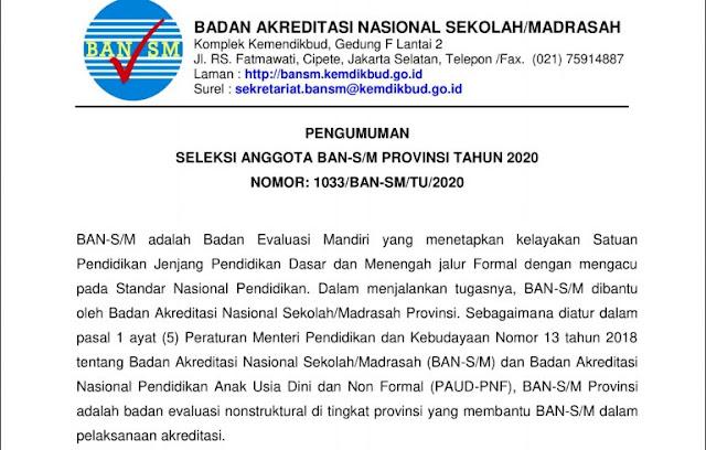 Rekrutmen - Seleksi Anggota BAN SM Provinsi Tahun 2020