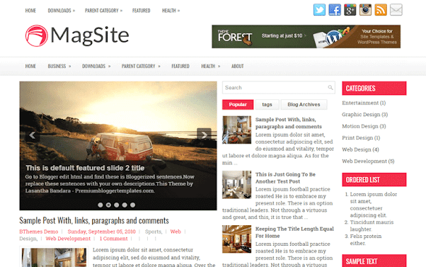 MagSite Free Blogger Template