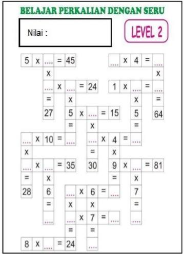 Soal Dan Kunci Tanggapan Teka Teki Silang Tts Perkalian Level 2 Matematika Sd Mi Kelas 4 5 Dan 6 Idn Paperplane