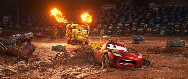 Lightning McQueen tries to get away from Miss Fritter at Thunder Hollow