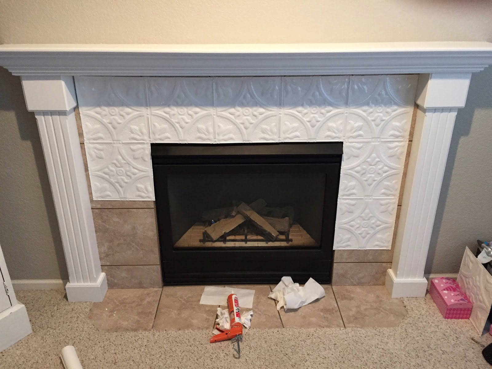 Heat Resistant Paint Fireplace Naughton Your Life Fireplace Makeover With Tin Tile