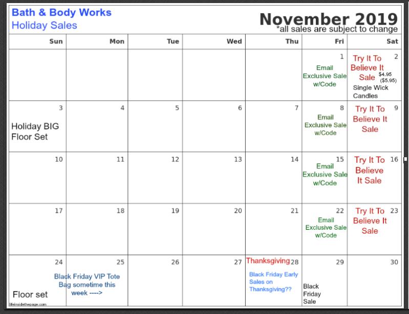 Life Inside The Page Bath Body Works Calendar Update November 2019
