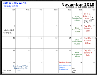 Bath & Body Works | Calendar Update: November 2019