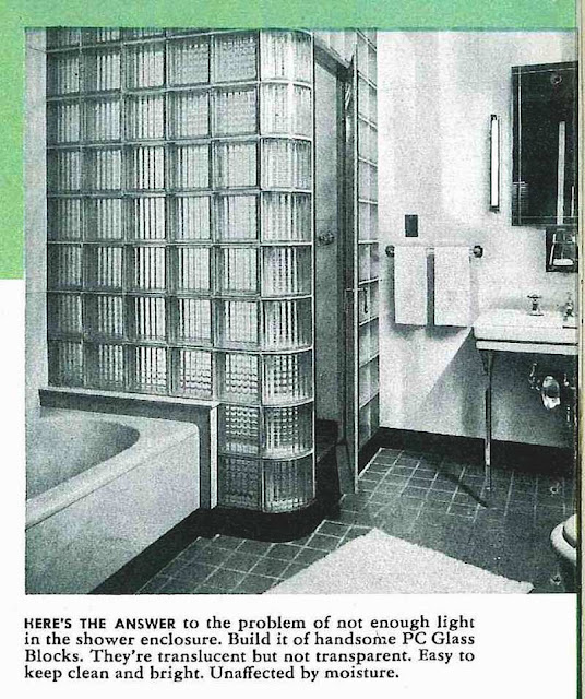 1946 glass block shower photograph