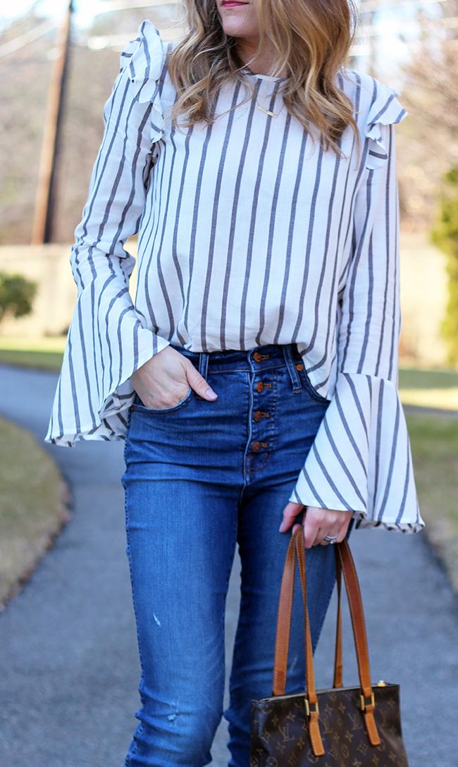 Long Bell Sleeve Top #springstyle #stripes #bellsleeves