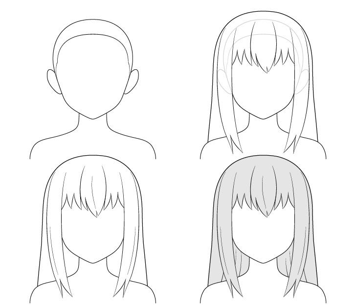 menggambar rambut anime panjang