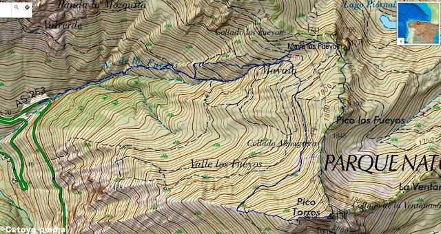 Mapa IGN con la ruta señalizada al Pico Torres por su espolón oeste desde el Puente Cimero Los Fueyos.