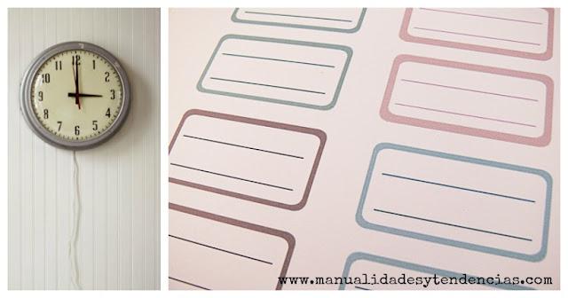 Etiquetas para cuadernos de colores pastel gratis